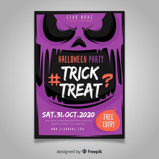 Flaches design halloween party plakat vorlage Kostenlosen Vektoren