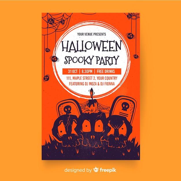 Flaches design halloween party plakat vorlage | Kostenlose ...