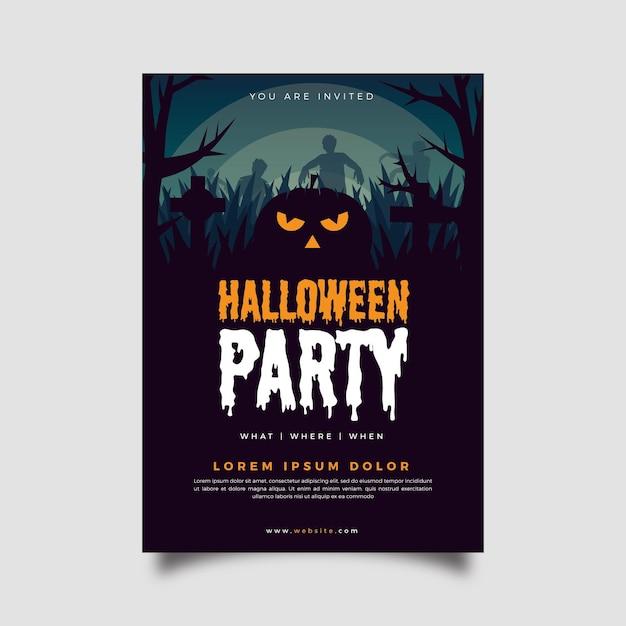 Flaches design halloween party poster Kostenlosen Vektoren