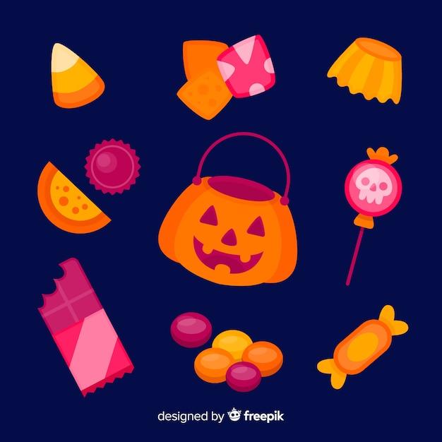 Flaches design halloween-süßigkeitssammlung Kostenlosen Vektoren