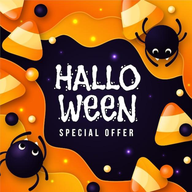 Flaches design halloween verkaufsbanner mit spinnen Premium Vektoren