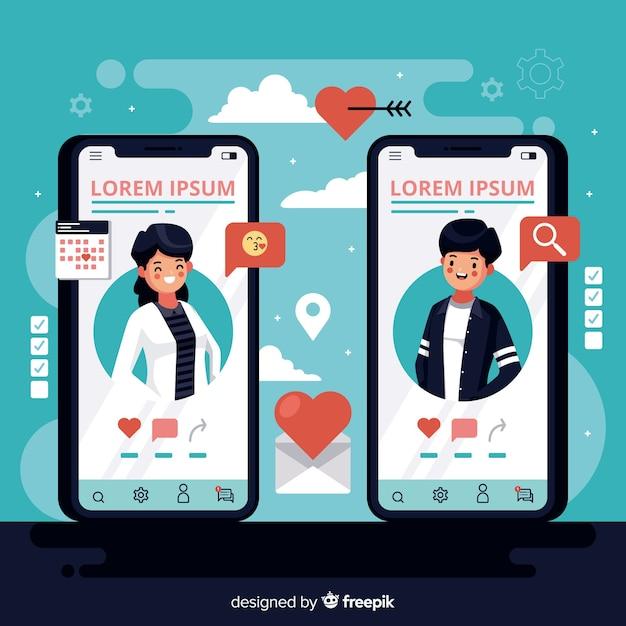 Flaches design-handys mit dating-app Kostenlosen Vektoren