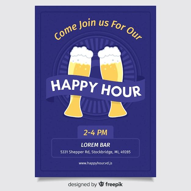 Flaches design happy hour plakat | Kostenlose Vektor
