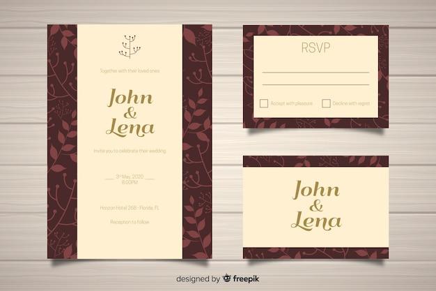 Flaches design hochzeit briefpapier vorlage Kostenlosen Vektoren