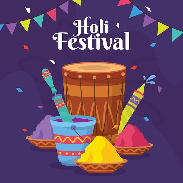 Flaches design holi festival feier Kostenlosen Vektoren