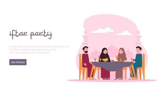 Flaches design iftar essen nach dem fasten fest party konzept. muslimisches familienessen im ramadan kareem oder eid mit menschencharakter feiern. Premium Vektoren