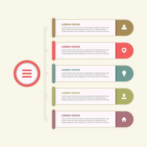 Flaches design infographic mit retro- farben Kostenlosen Vektoren