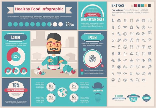 Flaches design infographic-schablone des gesunden lebensmittels Premium Vektoren