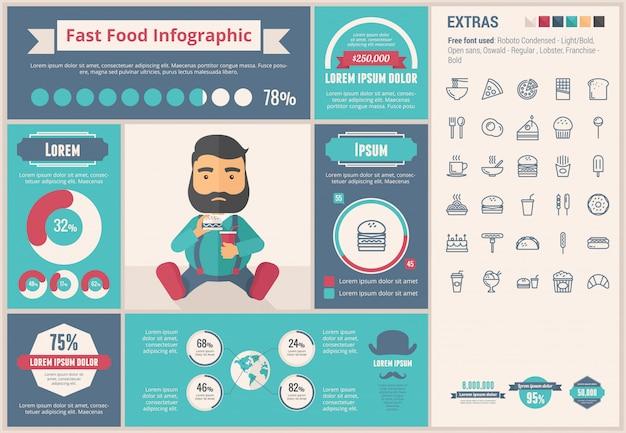 Flaches design infographic-schablone des schnellimbisses Premium Vektoren
