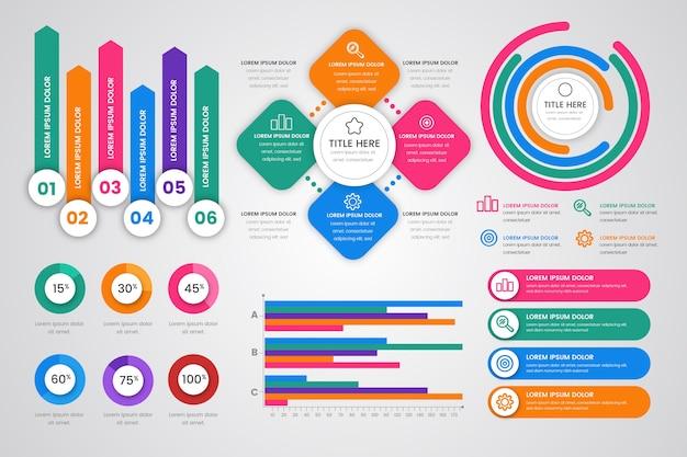 Flaches design infographik elementsammlung Kostenlosen Vektoren
