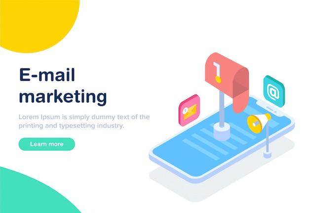 Flaches design isometrisches e-mail-marketing Premium Vektoren