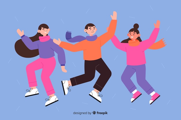 Flaches design junge leute tragen winterkleidung springen flaches design junge leute tragen winterkleidung springen Kostenlosen Vektoren
