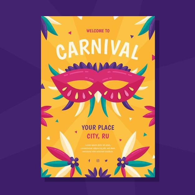 Flaches design karneval party flyer Kostenlosen Vektoren