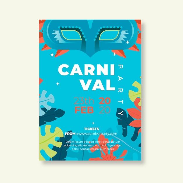 Flaches design karneval party plakat vorlage | Kostenlose ...