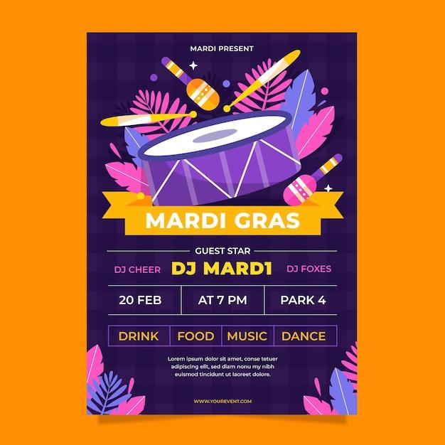 Flaches design karneval poster vorlage Kostenlosen Vektoren