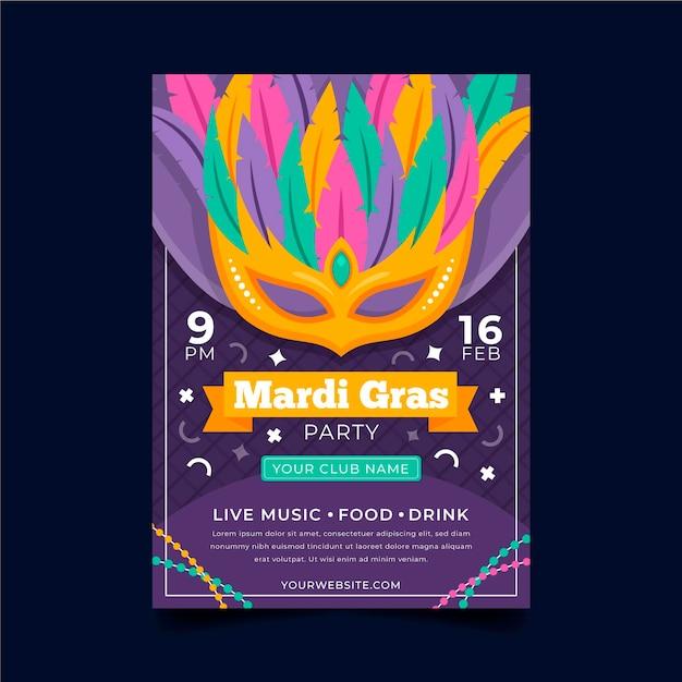Flaches design karneval poster vorlage Premium Vektoren