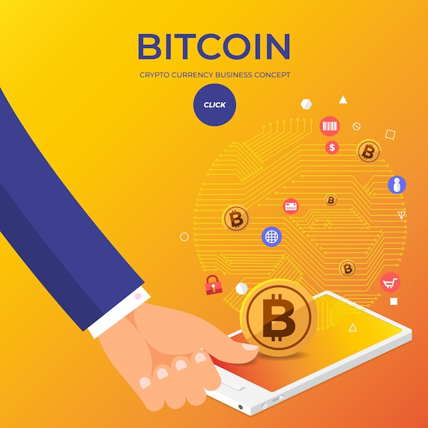 Flaches design-konzept bitcoin kryptowährung Premium Vektoren