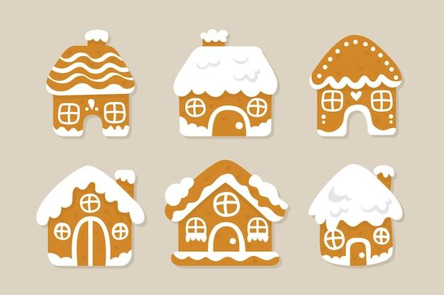 Flaches design lebkuchenhaus sammlung Kostenlosen Vektoren