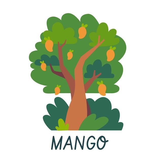 Flaches design mangobaum logo vorlage Kostenlosen Vektoren