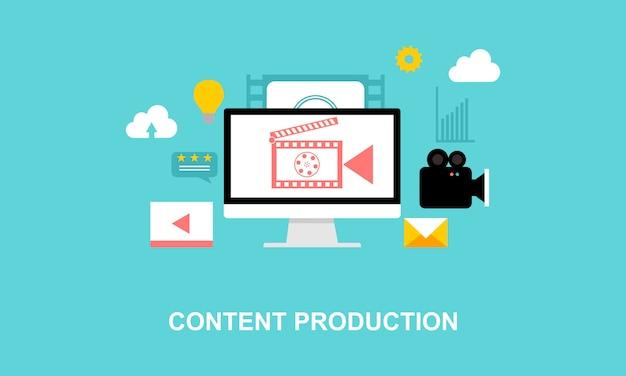 Flaches design medienproduktion illustrationslogo Premium Vektoren