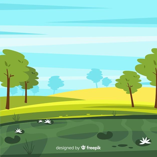 Flaches design naturlandschaft hintergrund Kostenlosen Vektoren