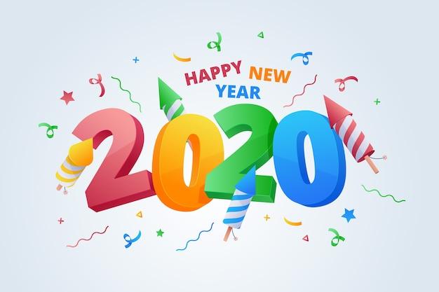 Flaches design neujahr 2020 hintergrund Kostenlosen Vektoren