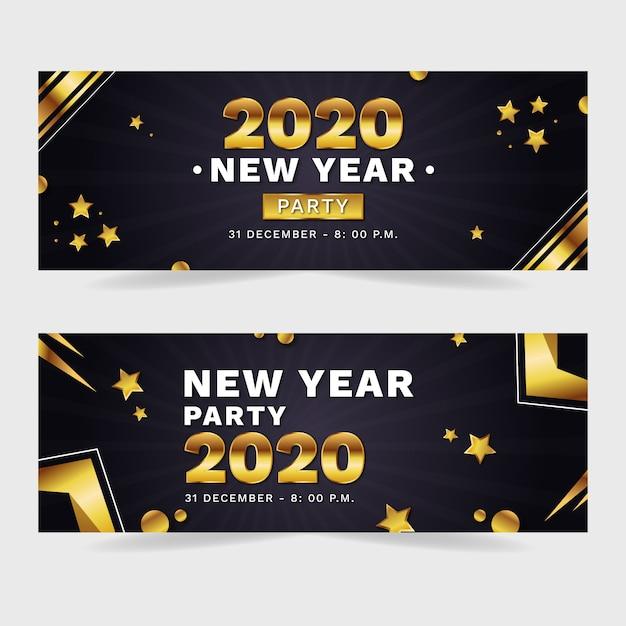 Flaches design neujahr 2020 party banner gesetzt Kostenlosen Vektoren