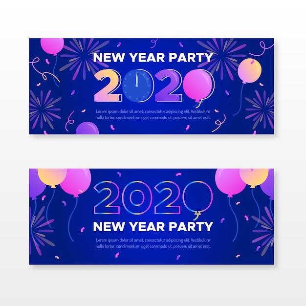 Flaches design neujahr 2020 party banner sammlung Kostenlosen Vektoren