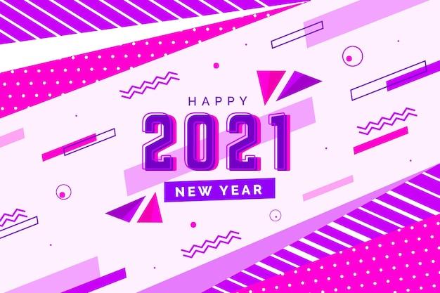 Flaches design neujahr 2021 hintergrund Kostenlosen Vektoren