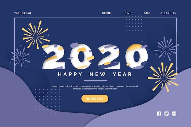 Flaches design neujahr landing page vorlage Kostenlosen Vektoren