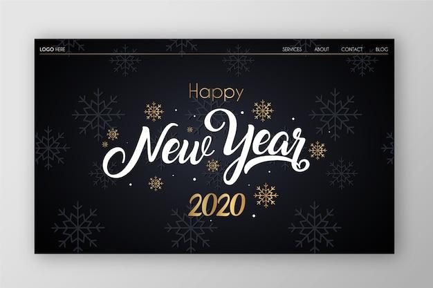 Flaches design neujahr landing page Kostenlosen Vektoren