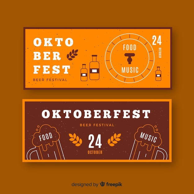 Flaches design oktoberfest banner vorlage Kostenlosen Vektoren