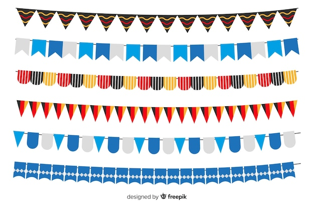 Flaches design oktoberfest girlande sammlung Kostenlosen Vektoren