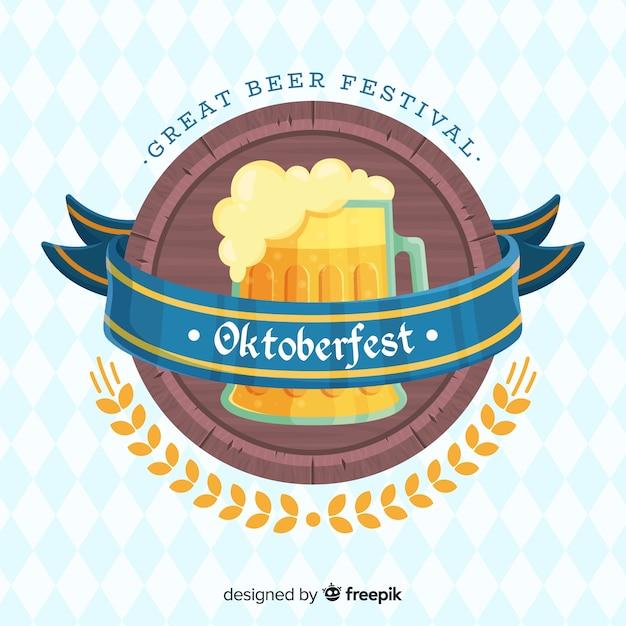 Flaches design oktoberfest hintergrund mit einem bierkrug Kostenlosen Vektoren