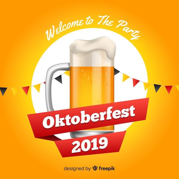 Flaches design oktoberfest mit glas bier Kostenlosen Vektoren