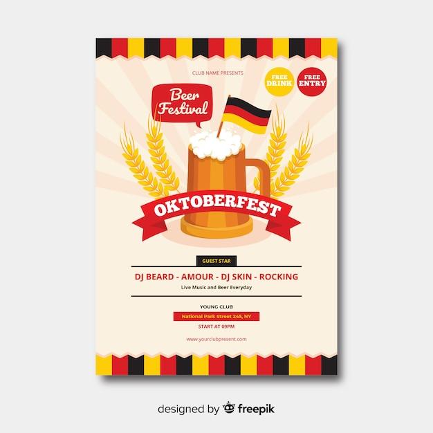 Flaches design oktoberfest plakat templa Kostenlosen Vektoren
