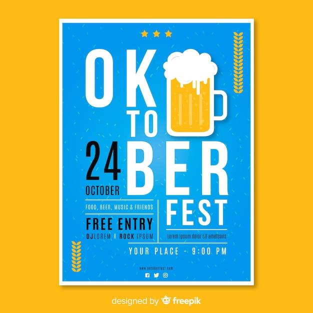 Flaches design oktoberfest plakat vorlage | Kostenlose Vektor