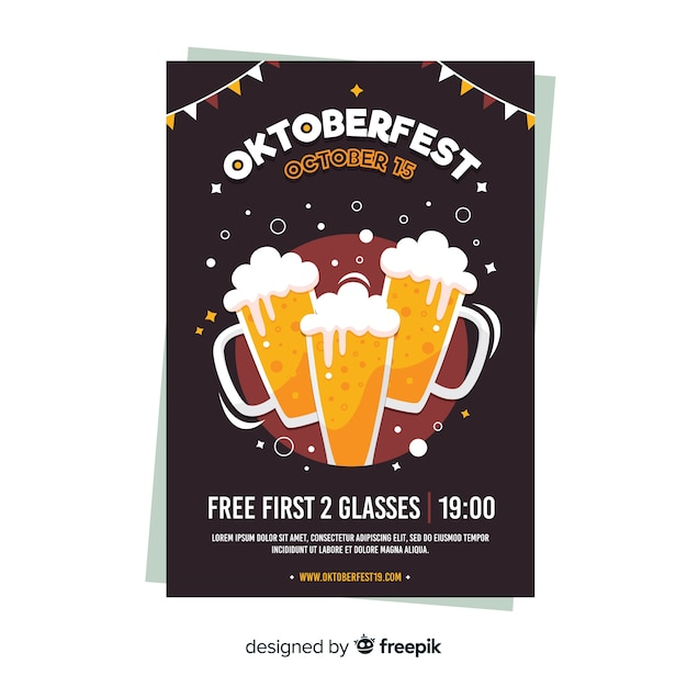 Flaches design oktoberfest plakat vorlage   Download der ...