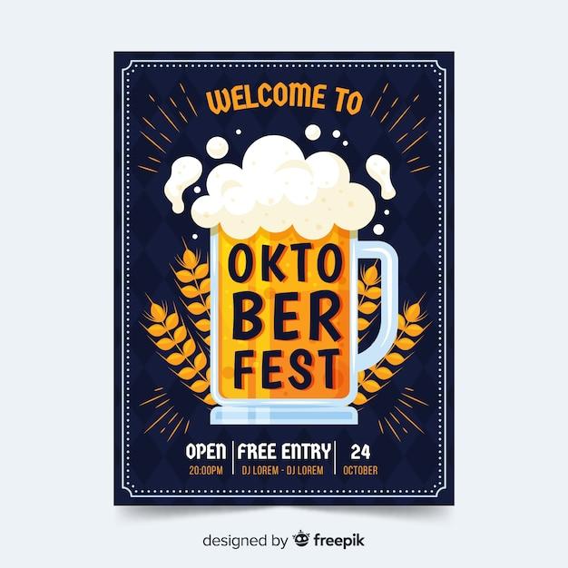 Flaches design oktoberfest plakat vorlage Kostenlosen Vektoren