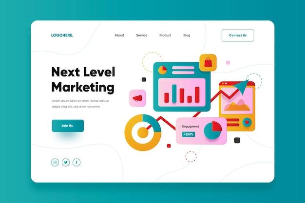 Flaches design online-marketing-landingpage Premium Vektoren