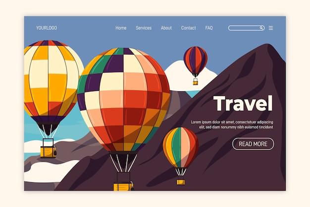 Flaches design reise landing page Kostenlosen Vektoren