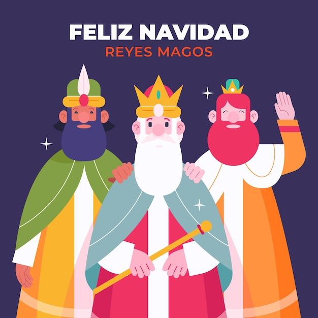 Flaches design reyes magos illustration Kostenlosen Vektoren