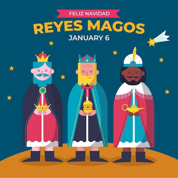 Flaches design reyes magos illustriert Kostenlosen Vektoren