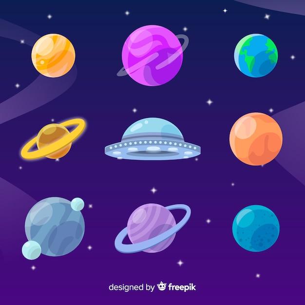 Flaches design sammlung von planeten mit ufo Kostenlosen Vektoren