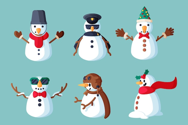 Flaches design schneemann charakter pack illustration Premium Vektoren