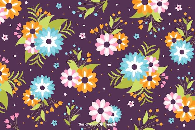 Flaches design schönen floralen hintergrund Kostenlosen Vektoren
