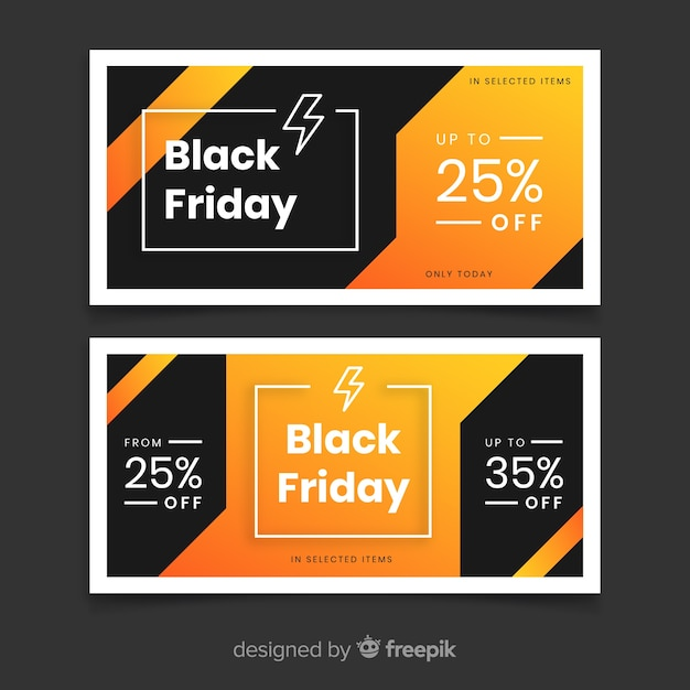 Flaches design schwarz freitag banner Kostenlosen Vektoren