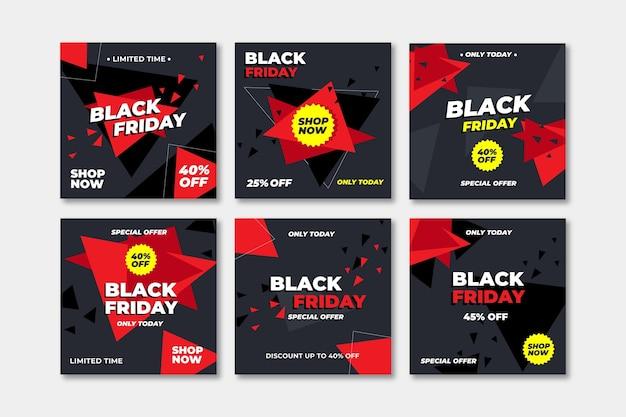 Flaches design schwarzer freitag instagram post sammlung Premium Vektoren