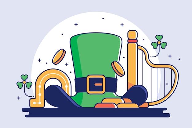 Flaches design st. patricks illustration mit grünem hut Kostenlosen Vektoren
