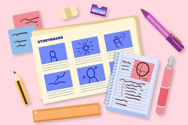 Flaches design-storyboard-konzept Kostenlosen Vektoren